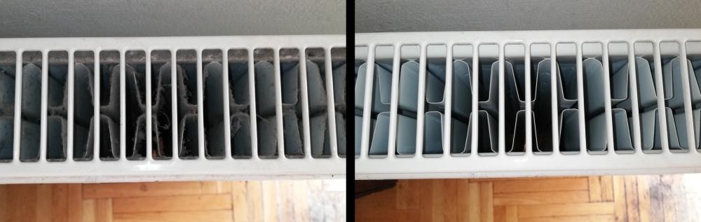 A képen a radiátor belső lemezei láthatóak, baloldalon koszosan, pókhálósan, jobboldalon pedig tisztítva.